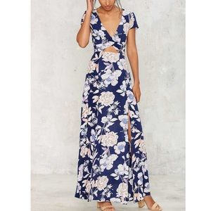 NASTY GAL 'Need A Trim' Cutout Floral Maxi Dress